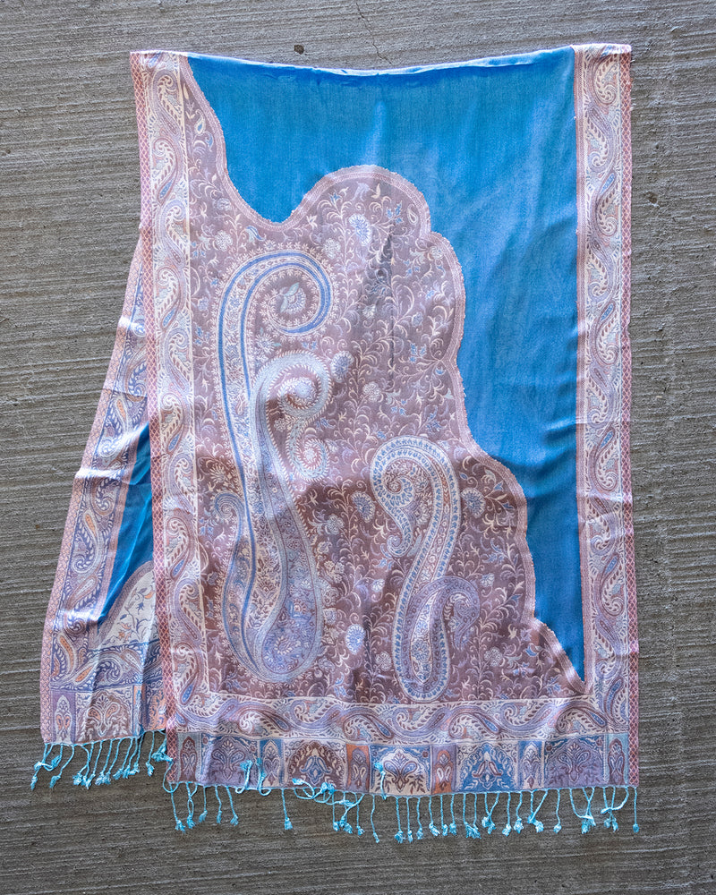 Multicolored Sheer Blue & Pink Paisley Cut Out Scarf