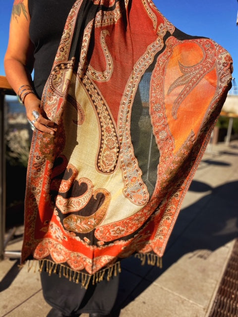 Multicolored Sheer & Paisley Scarf