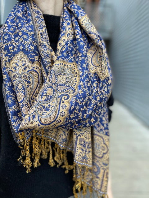 Blue & Cream Paisley Scarf