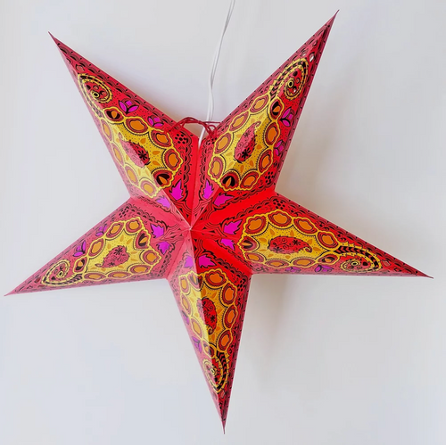 Star Lantern in Red Paisley