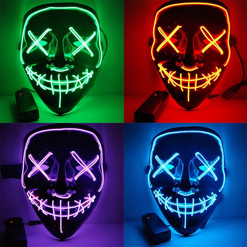 Halloween LED Mask Purge Masks Election Mascara Costume DJ Party Light Up Masks Glow In Dark 10 Colors To Choose
