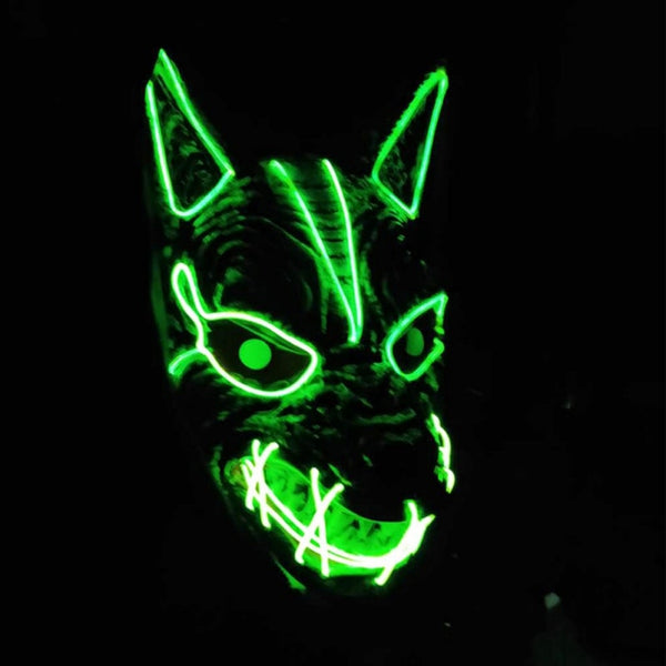 Men And Women Halloween LED Streamer Full Face Mask  Party Wolf Head Ghost Face Clown Horror Glow Mask