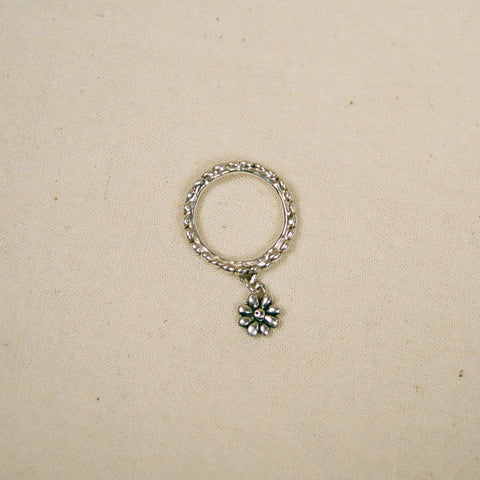 Tiny flower charm ring