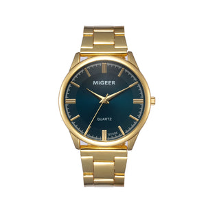 Stainless Steel Analog Wrist Watch - Gold Military - Migeer