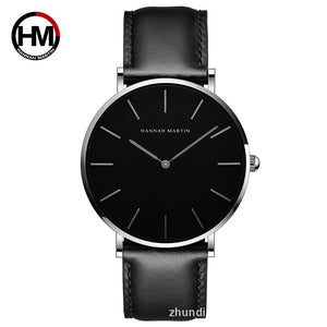 Black Slim Wristwatch - Casual Waterproof Watch - Hannah Martin
