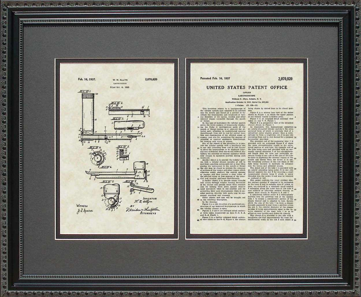 Laryngoscope Patent, Art & Copy, Allyn, 1937, 16x20