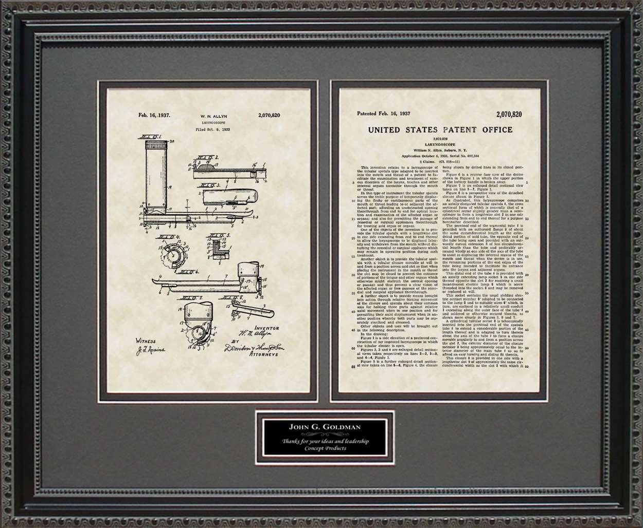 Personalized Laryngoscope Patent, Art & Copy, Allyn, 1937