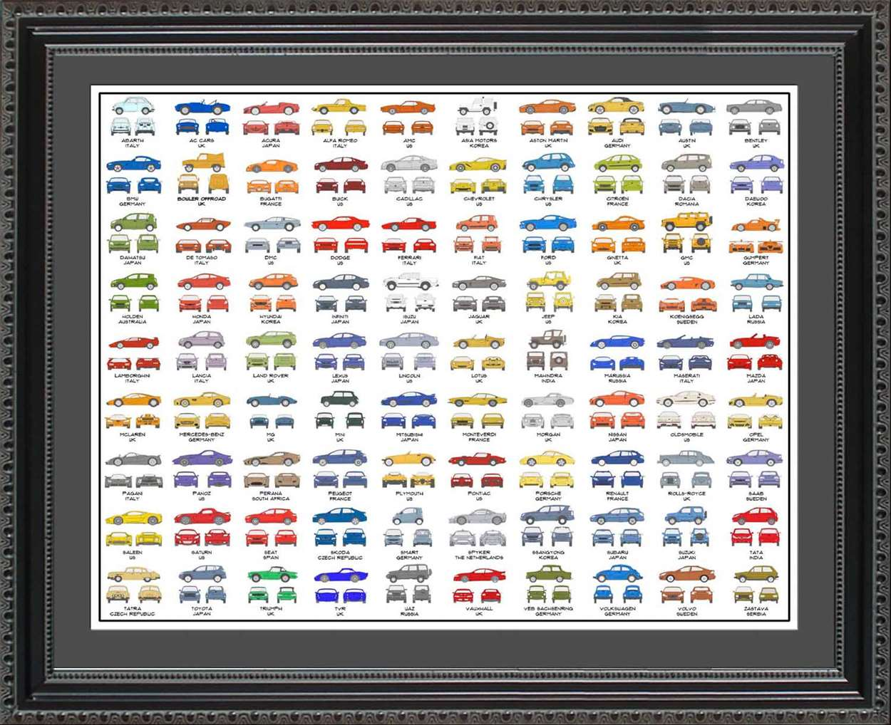 Car Manufacturers of the World Collection, 20x24