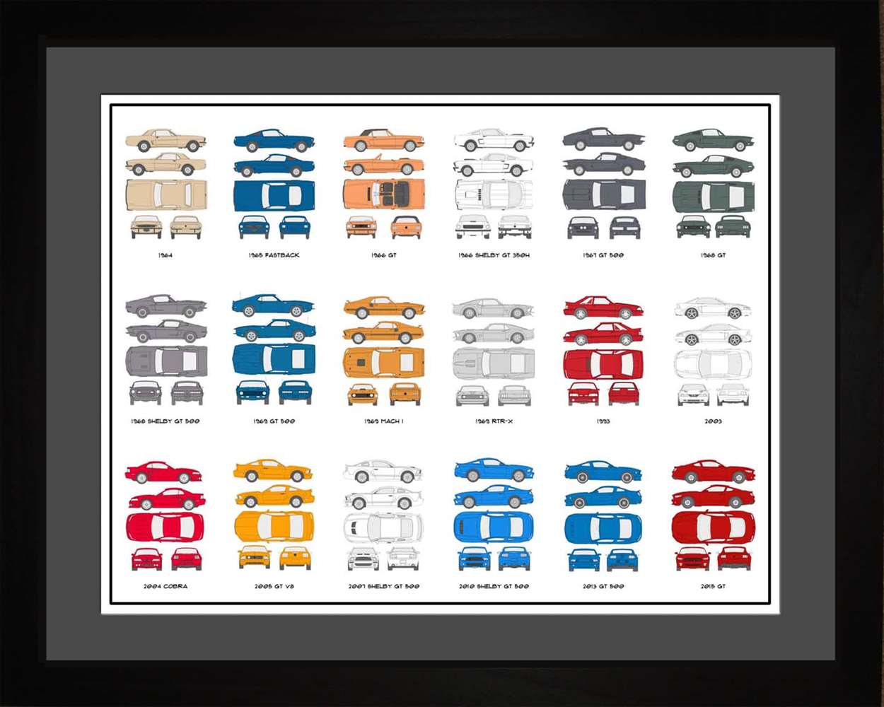 Ford Mustang Auto Collection, 16x20