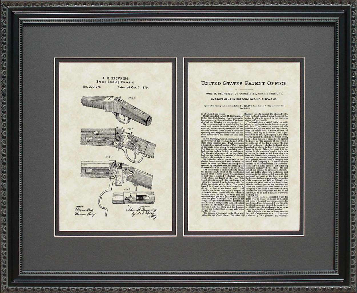 Winchester 1885 Single-Shot Rifle Patent, Art & Copy, Browning, 1879, 16x20