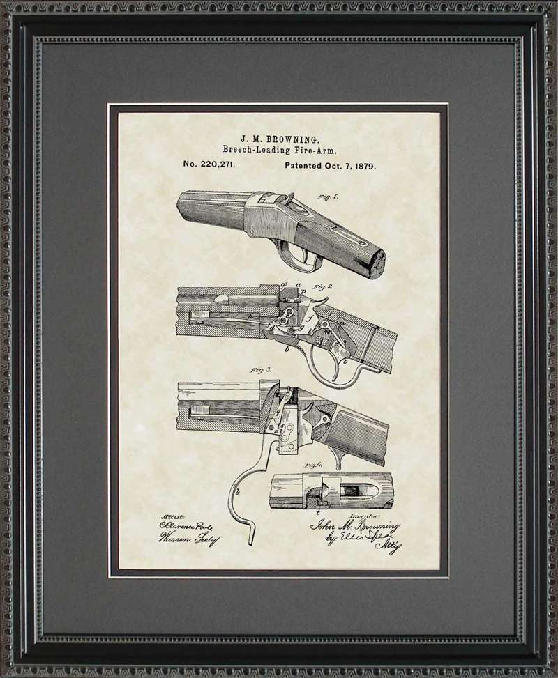 Winchester 1885 Single-Shot Rifle Patent Art, Browning, 1879