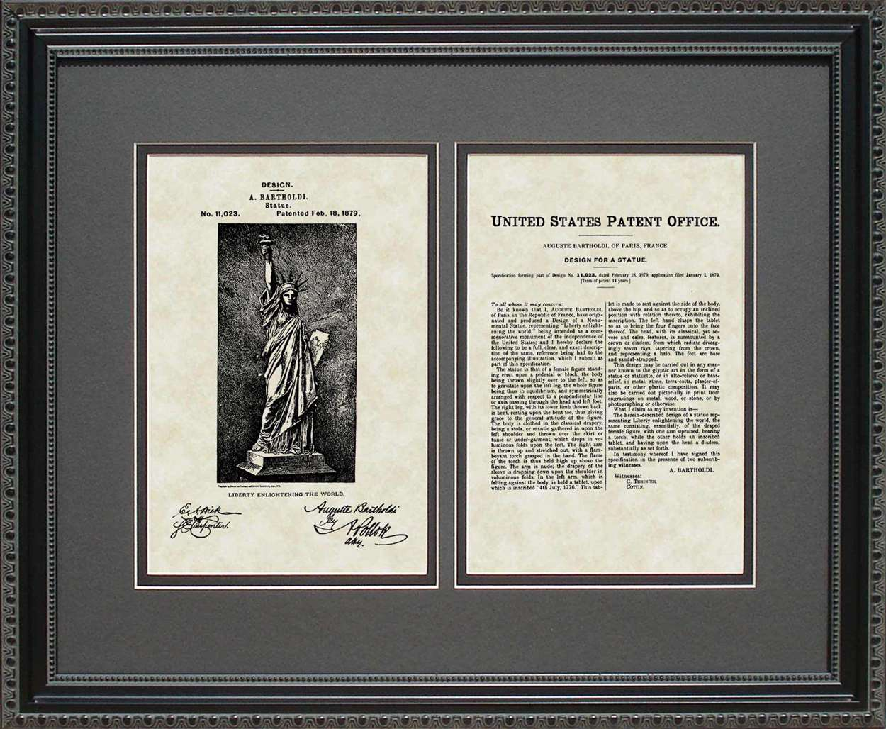 Statue of Liberty Patent, Art & Copy, Bartholdi, 1879, 16x20