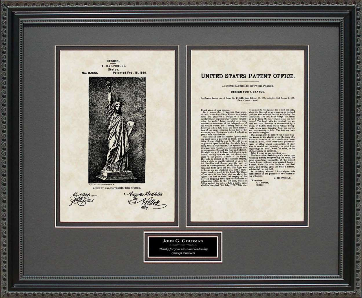 Personalized Statue of Liberty Patent, Art & Copy, Bartholdi, 1879