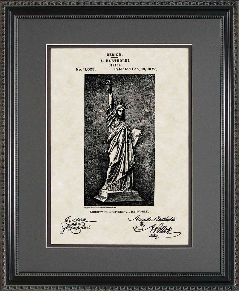 Statue of Liberty Patent Art, Bartholdi, 1879