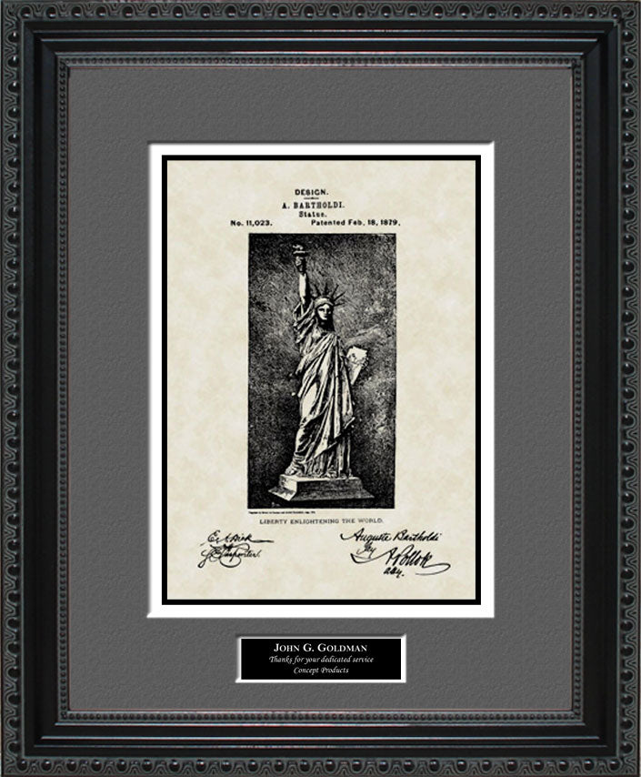 Personalized Statue of Liberty Patent Art, Bartholdi, 1879