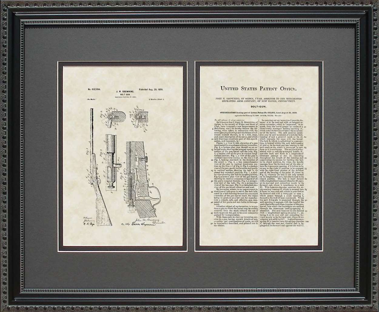 Bolt Rifle Patent, Art & Copy, Browning, 1899, 16x20