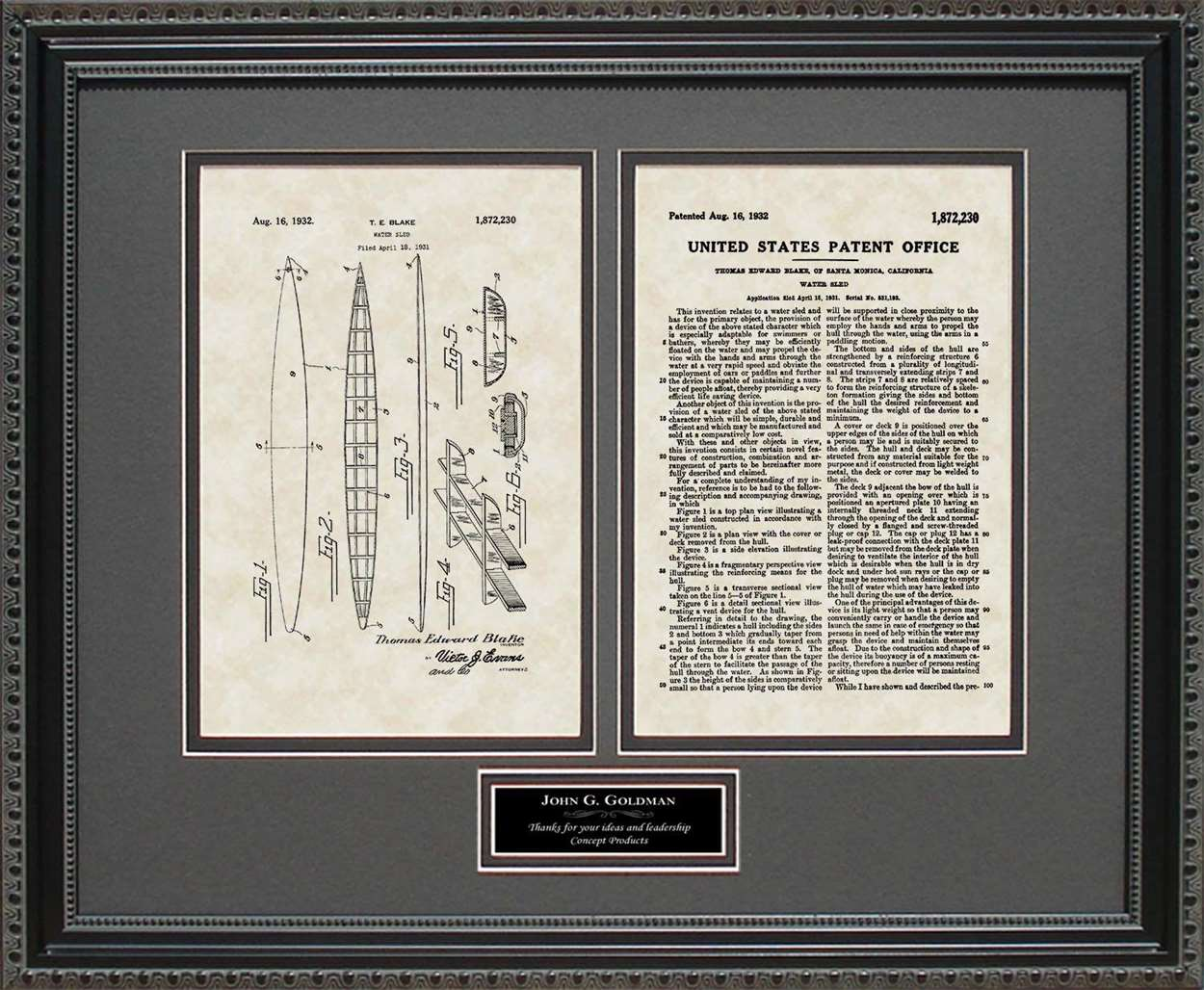 Personalized Surfboard Patent, Art & Copy, Blake, 1932