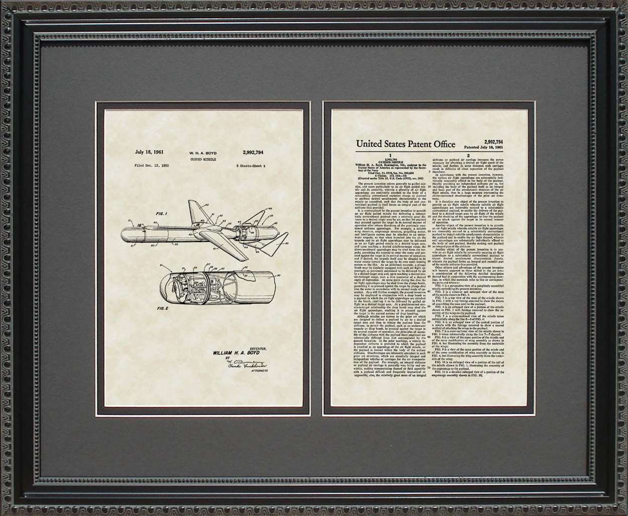 Guided Missle Patent, Art & Copy, Boyd, 1961, 16x20