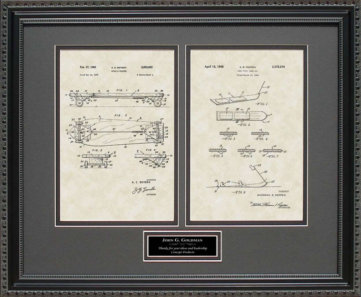 Personalized Skateboard & Snowboard Patents, 16x20