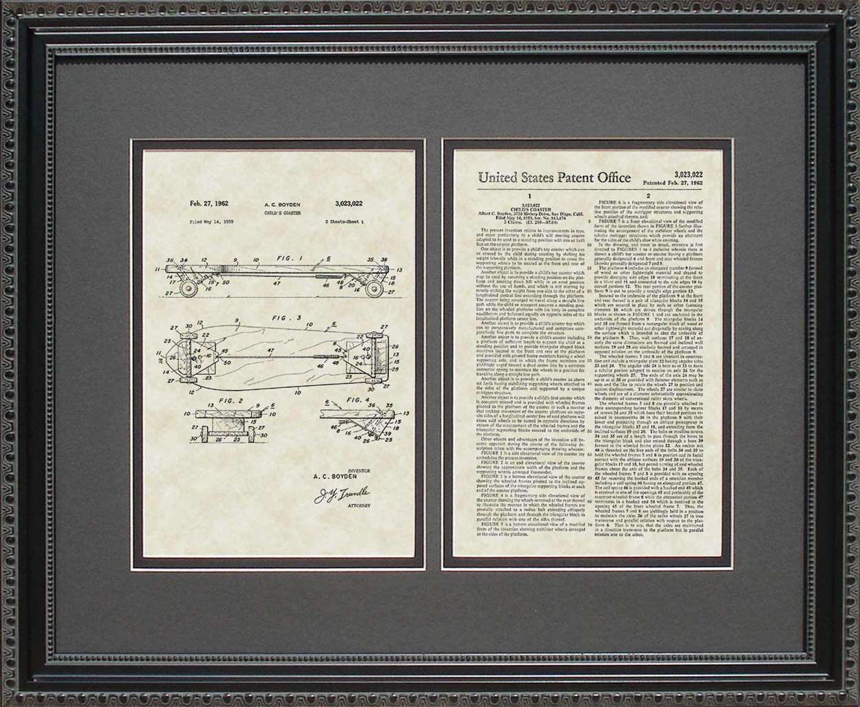 Skateboard Patent, Art & Copy, Boyden, 1962, 16x20