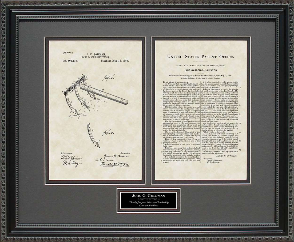 Personalized Garden Tool Patent, Art & Copy, Bowman, 1889
