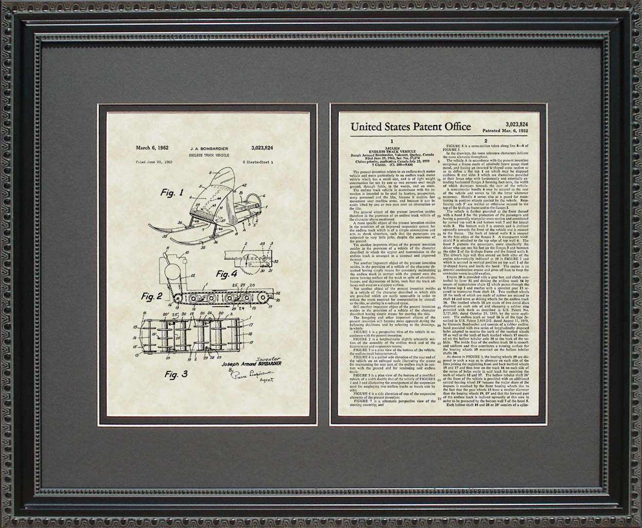 Snowmobile Patent, Art & Copy, Bombadier, 1962, 16x20