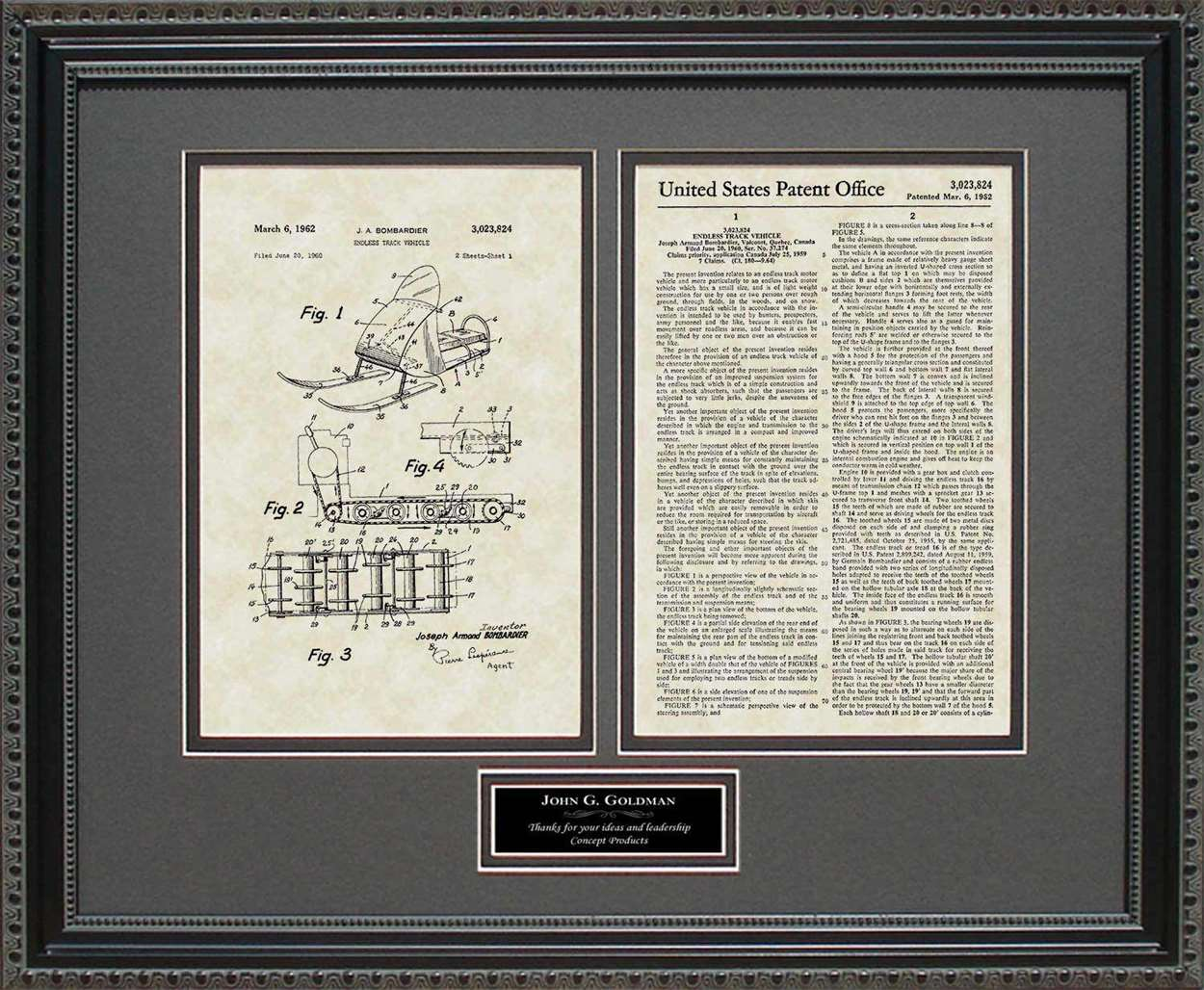 Personalized Snowmobile Patent, Art & Copy, Bombadier, 1962