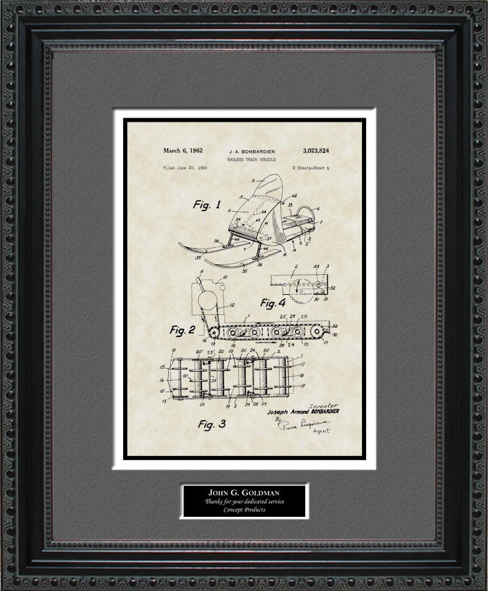 Personalized Snowmobile Patent Art, Bombadier, 1962