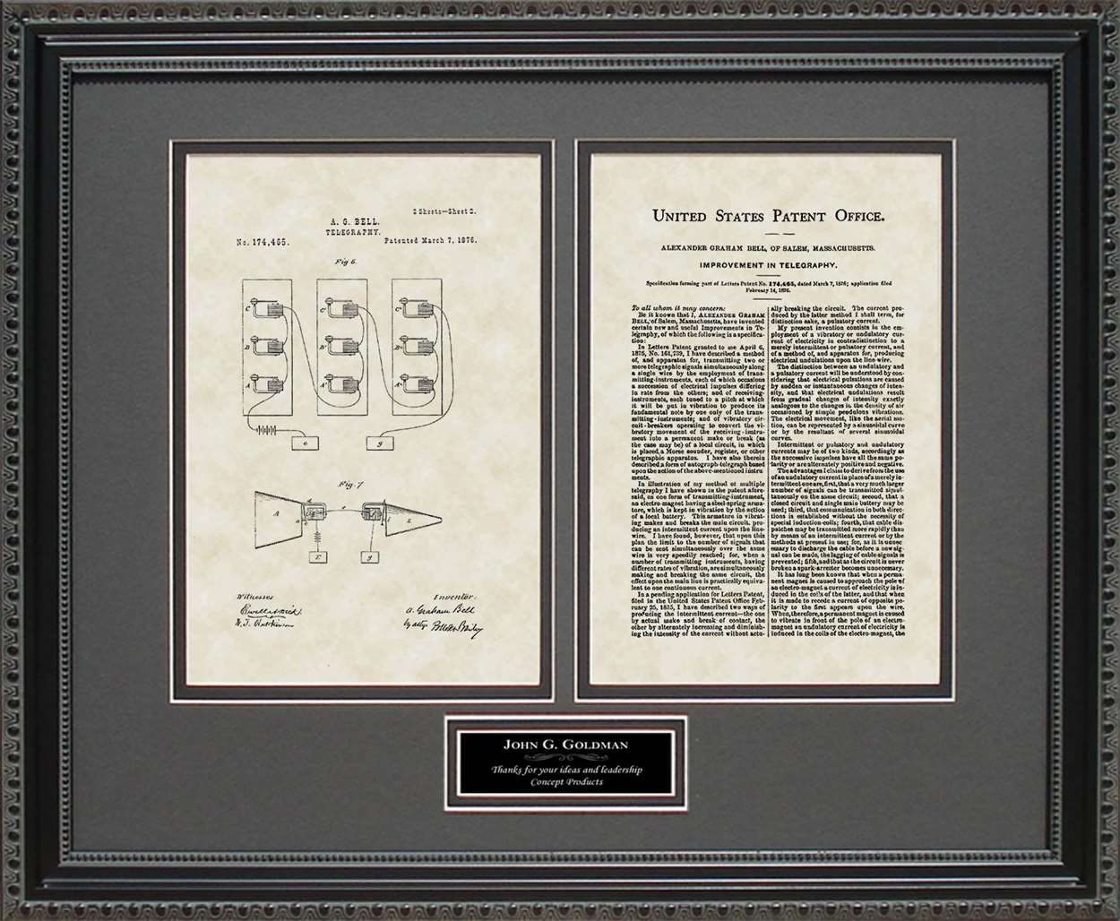 Personalized Telephone Patent, Art & Copy, Bell, 1876