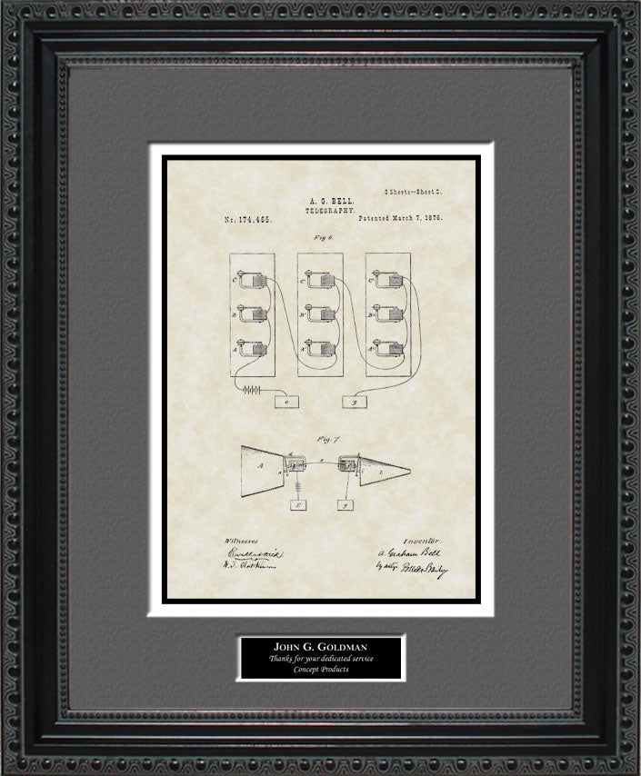 Personalized Telephone Patent Art, Bell, 1876