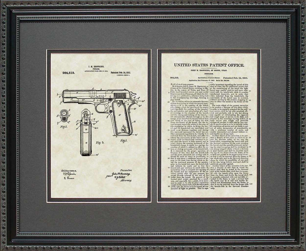 Colt 45 Pistol Patent, Art & Copy, Browning, 1911, 16x20