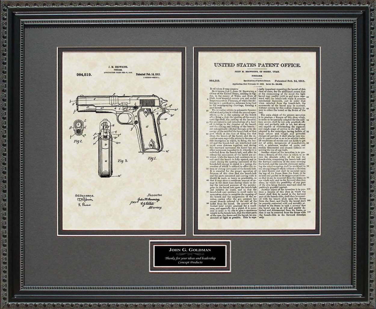 Personalized Colt 45 Pistol Patent, Art & Copy, Browning, 1911