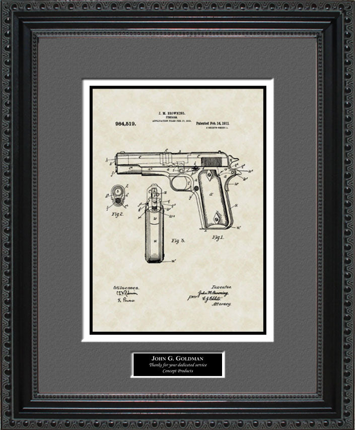 Personalized Colt 45 Pistol Patent Art, Browning, 1911