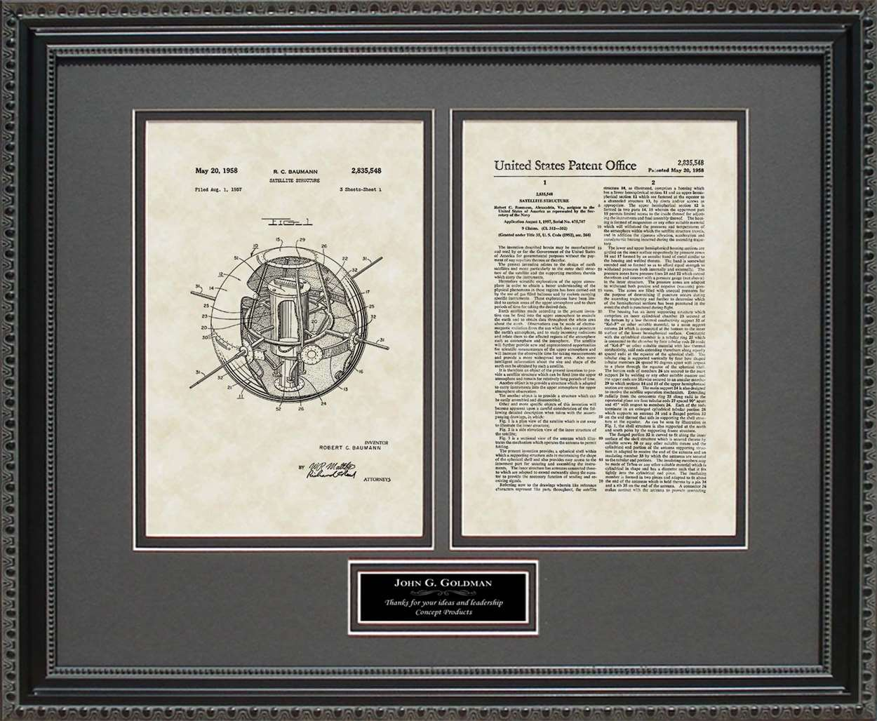 Personalized Satellite Patent, Art & Copy, Bauman, 1958