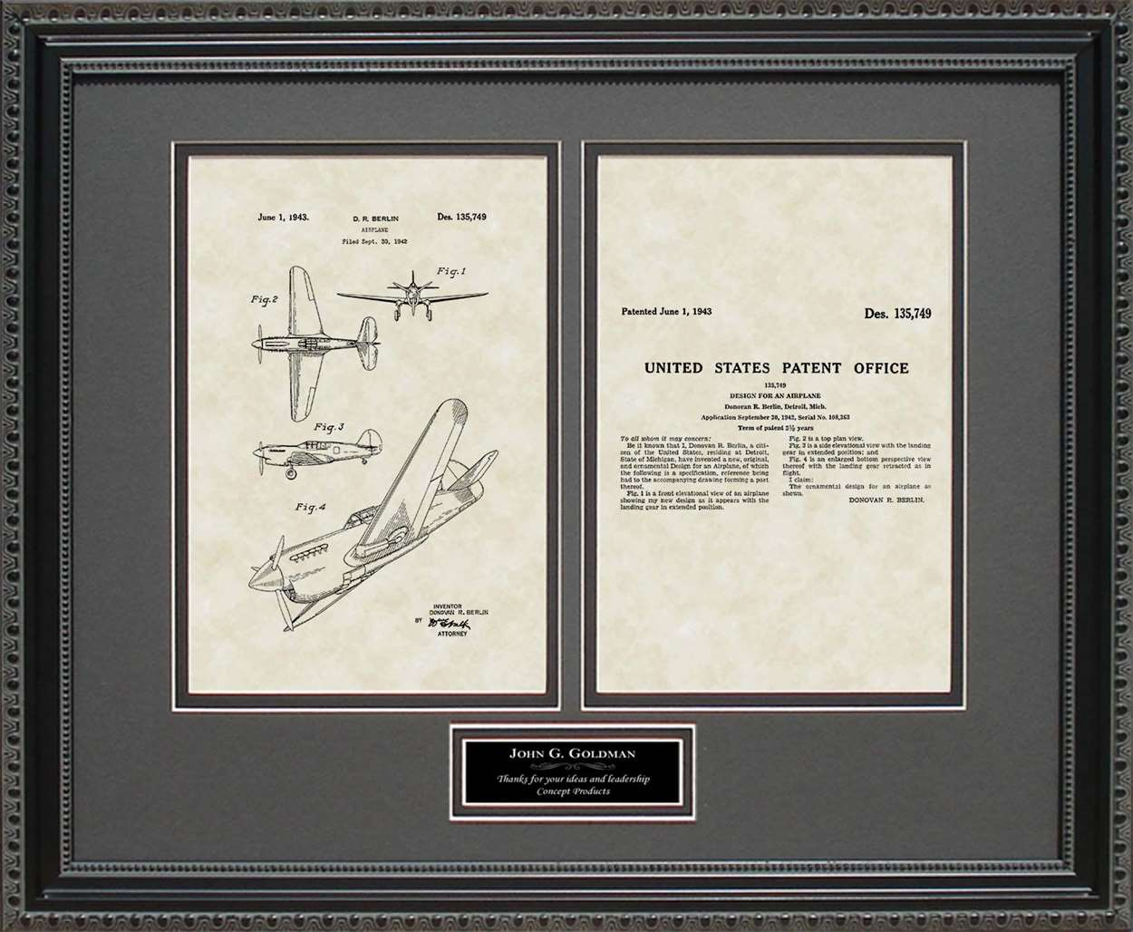 Personalized P-41 Aircraft Patent, Art & Copy, Berlin, 1943