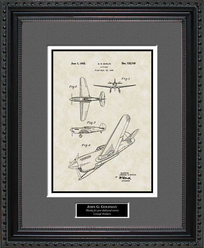 Personalized P-41 Aircraft Patent Art, Berlin, 1943