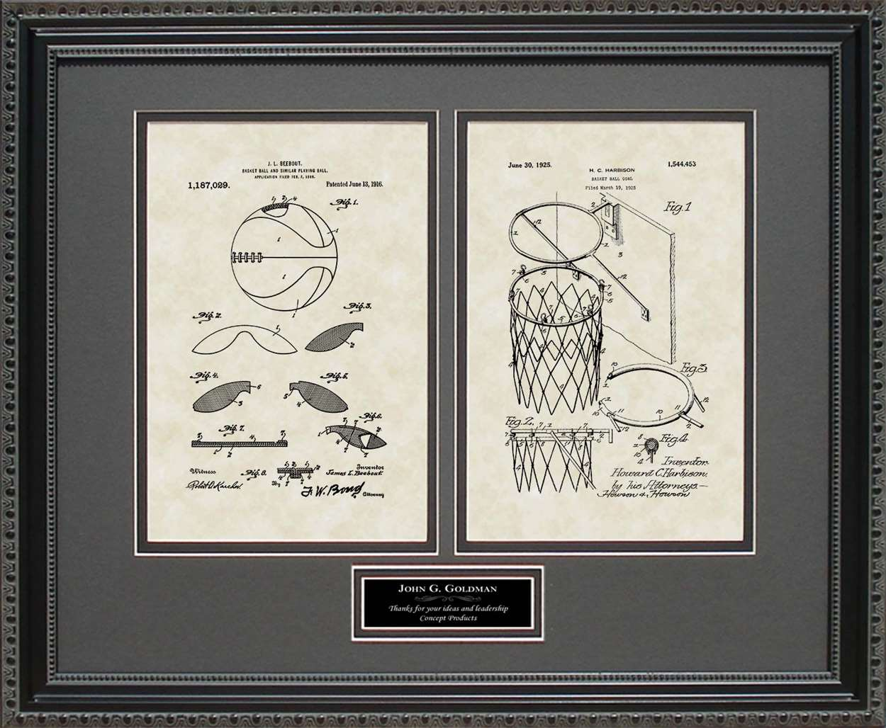Personalized Basketball & Goal Patents, 16x20