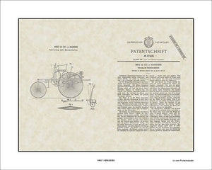 First Mercedes Patent, Art & Copy, Benz, 1886, 16x20