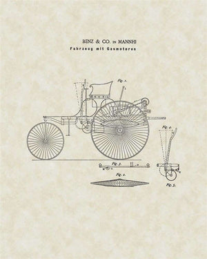 First Mercedes Patent Art, Benz, 1886