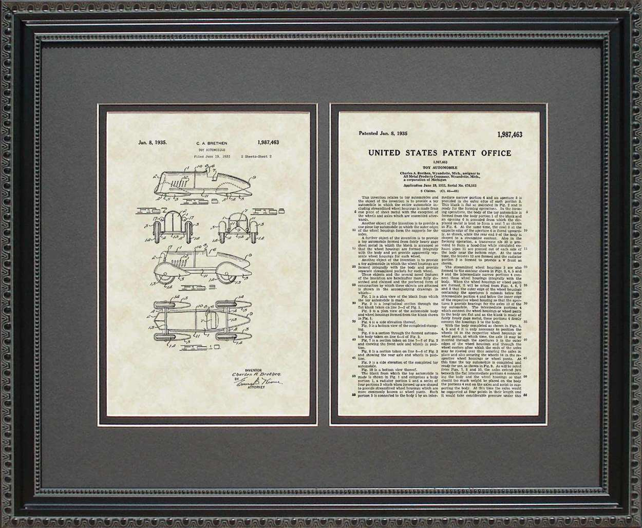 Futuristic Speed Racer Patent, Art & Copy, Brethen, 1935, 16x20