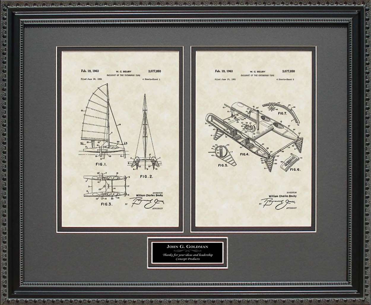 Personalized Catamaran Patent, 16x20