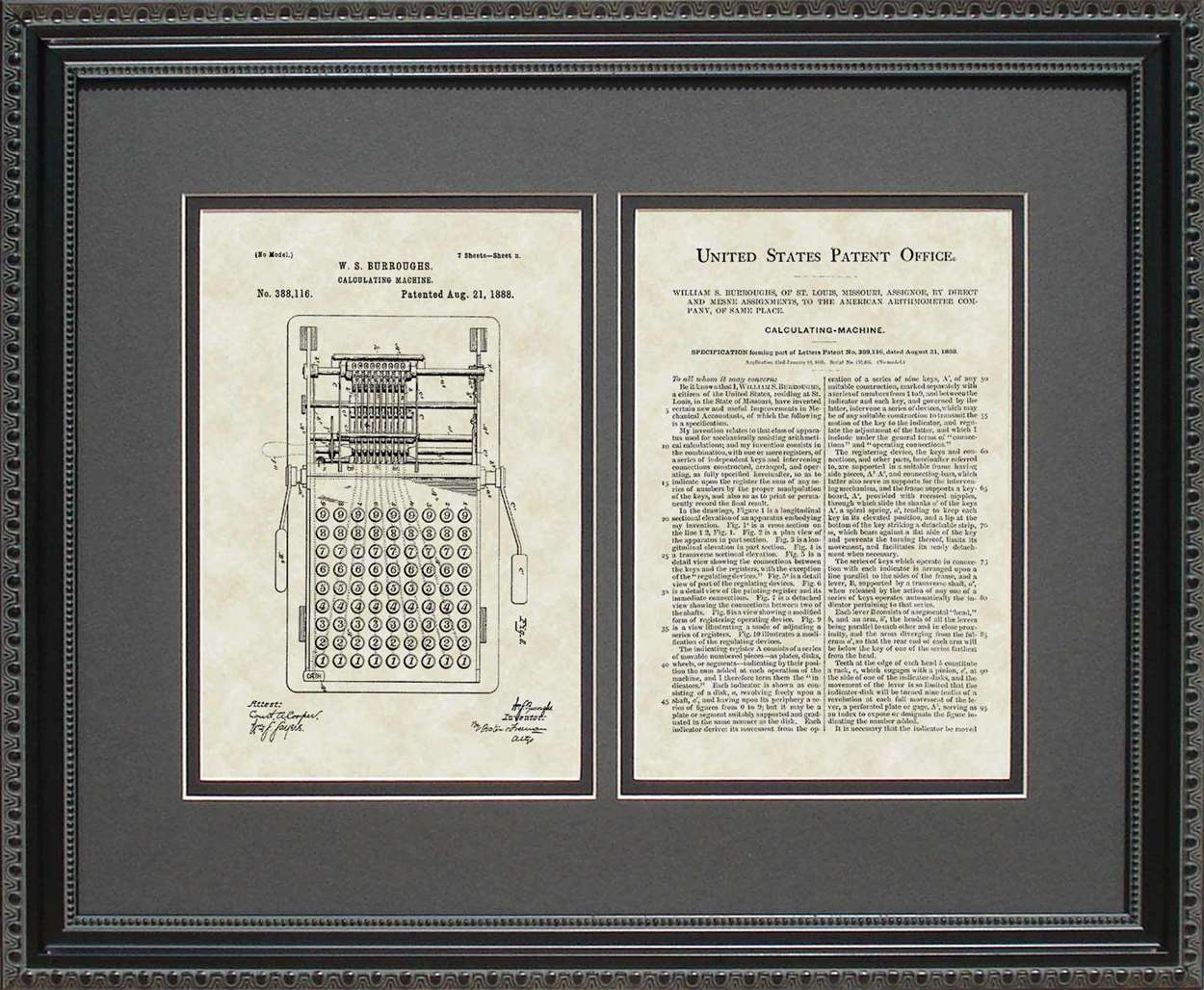 Calculator Patent, Art & Copy, Burroughs, 1888, 16x20