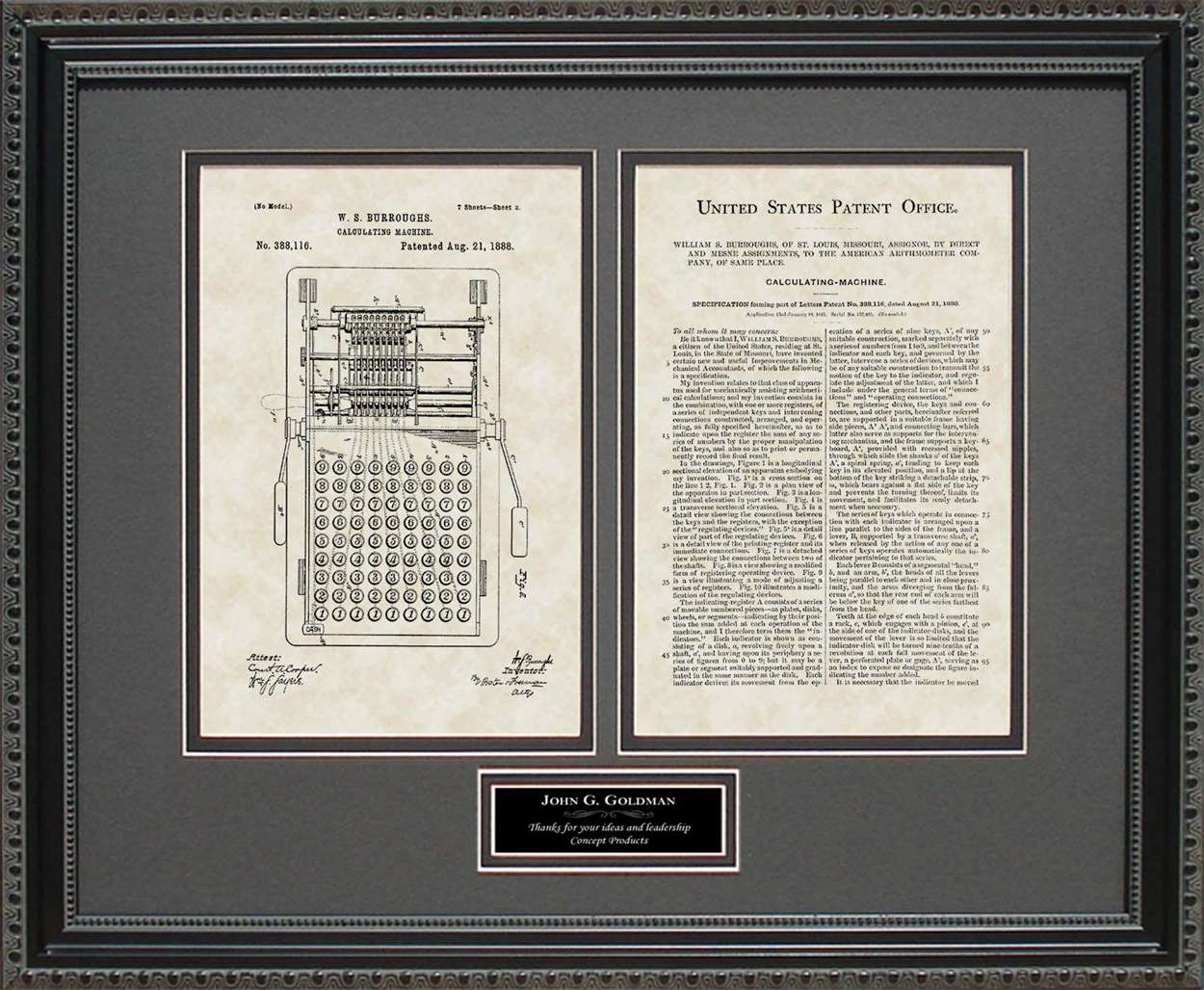 Personalized Calculator Patent, Art & Copy, Burroughs, 1888