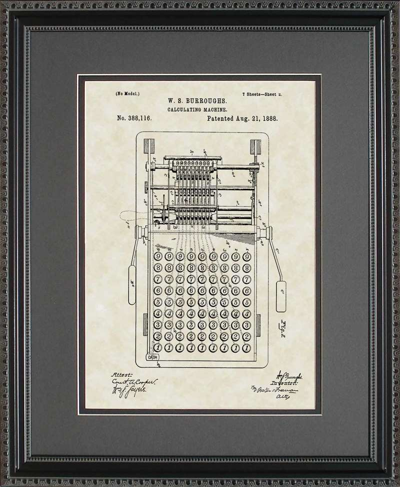 Calculator Patent Art, Burroughs, 1888