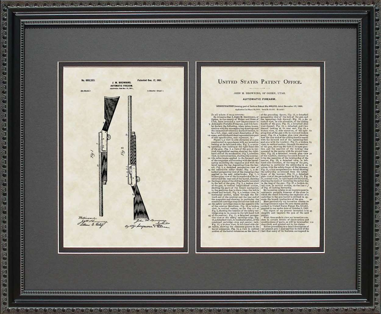 Auto 5 Shotgun Patent, Art & Copy, Browning, 1901, 16x20