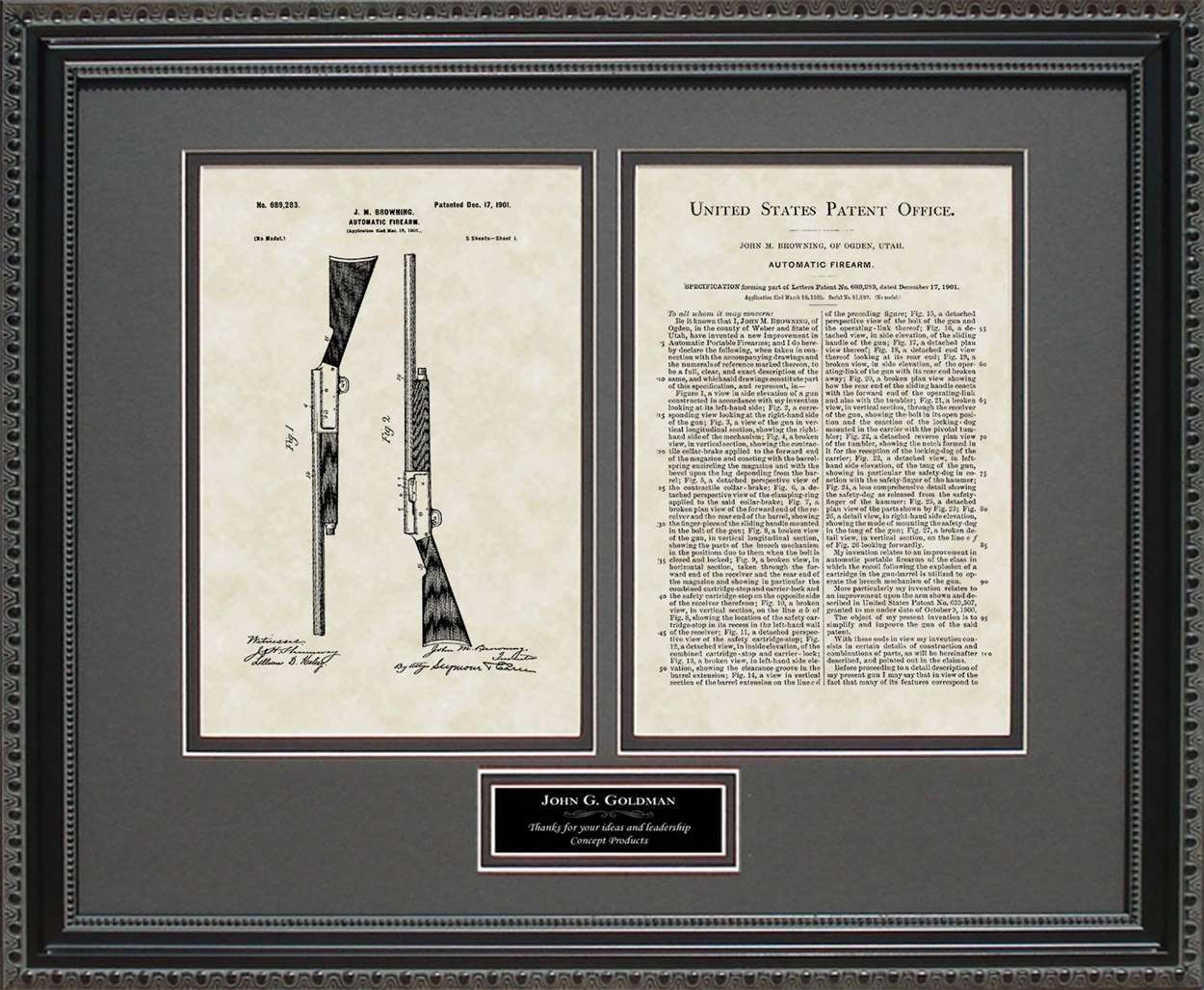 Personalized Auto 5 Shotgun Patent, Art & Copy, Browning, 1901