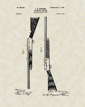 Auto 5 Shotgun Patent Art, Browning, 1901