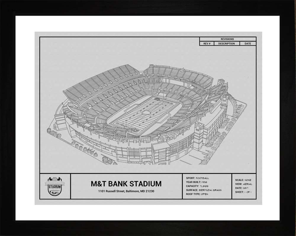 M&T Bank Stadium Blueprint, Baltimore Ravens, 16x20