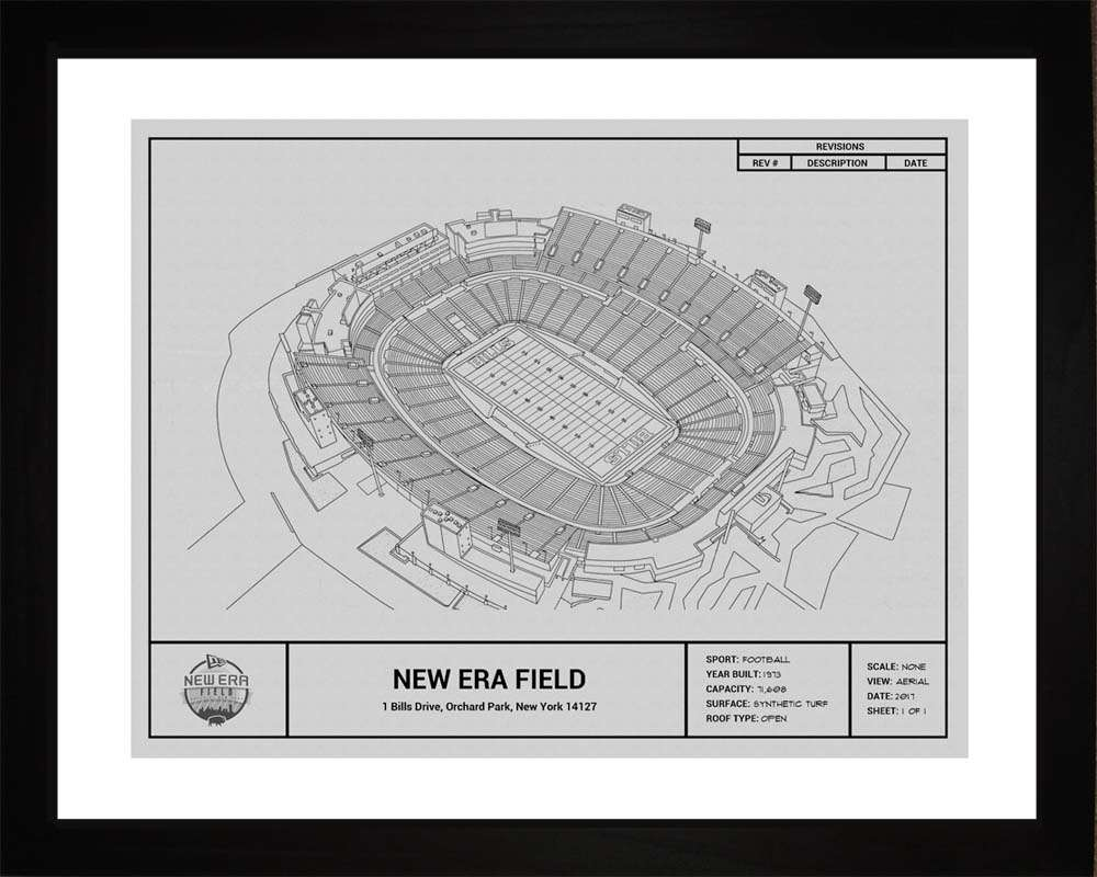 New Era Field Blueprint, Buffalo Bills, 16x20