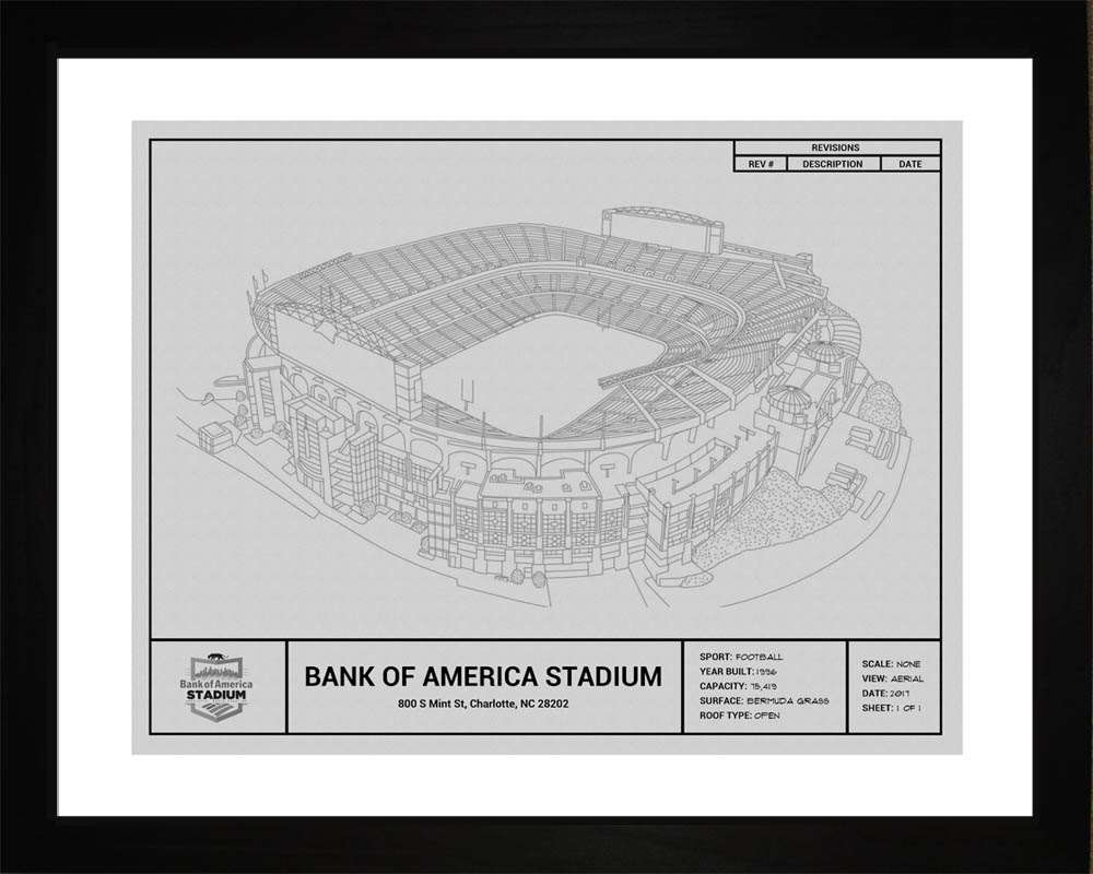 Bank of America Stadium Blueprint, Carolina Panthers, 16x20